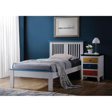 Brooklet Vertical Slat Bed with Blue Accents - Twin - White