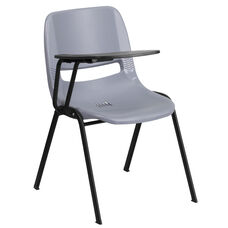 Gray Ergonomic Shell Chair with Right Handed Flip-Up Tablet Arm