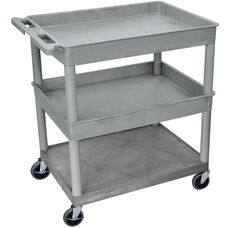 Heavy Duty Multi-Purpose Large Mobile Utility Cart with 1 Flat Shelf and 2 Tub Shelves - Gray - 32