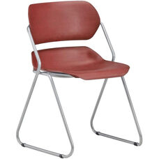 Martisa Armless Plastic Stack Chair - Wine Seat with Silver Frame