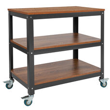 "Livingston Collection 30""W Rolling Storage Cart with Metal Wheels in Brown Oak Wood Grain Finish"
