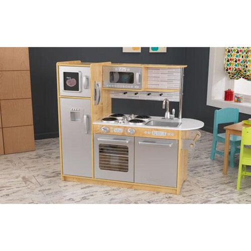 Our Kids Wooden Make-Believe Modern Uptown Kitchen Play Set - Natural is on sale now.