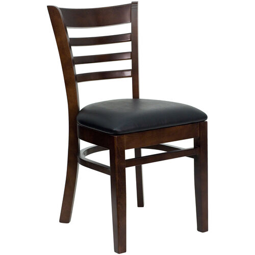 Our Walnut Finished Ladder Back Wooden Restaurant Chair with Black Vinyl Seat is on sale now.