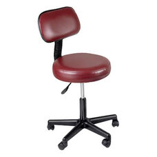 Height Adjustable Mobile Stool with Back - Burgundy