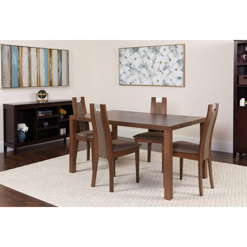 Harlesden 5 Piece Walnut Wood Dining Table Set with Curved Slat Wood Dining Chairs - Padded Seats