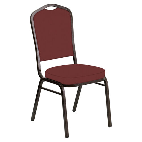 Our Embroidered Crown Back Banquet Chair in E-Z Oxen Maroon Vinyl - Gold Vein Frame is on sale now.