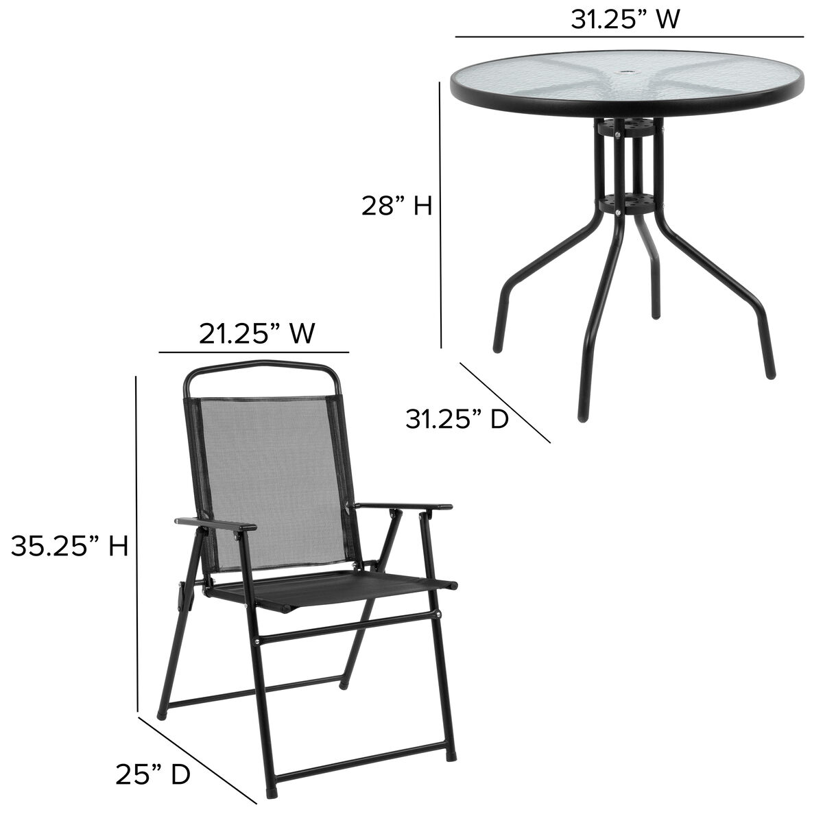 Strange Nantucket 6 Piece Black Patio Garden Set With Table Umbrella And 4 Folding Chairs Machost Co Dining Chair Design Ideas Machostcouk