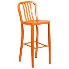 "Commercial Grade 30"" High Orange Metal Indoor-Outdoor Barstool with Vertical Slat Back"