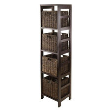 Granville 5-Pc Storage Tower Shelf in Espresso with 4 Foldable Baskets