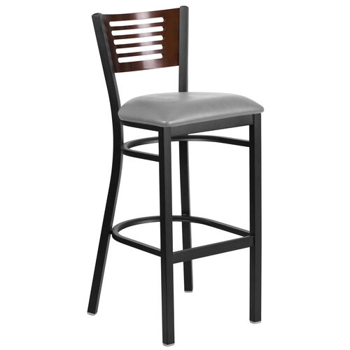 Our Black Decorative Slat Back Metal Restaurant Barstool with Walnut Wood Back & Custom Upholstered Seat is on sale now.