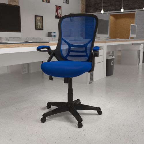 High Back Blue Mesh Ergonomic Swivel Office Chair with Black Frame and Flip-up Arms