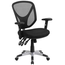 Mid-Back Black Mesh Multifunction Swivel Ergonomic Task Office Chair with Adjustable Arms