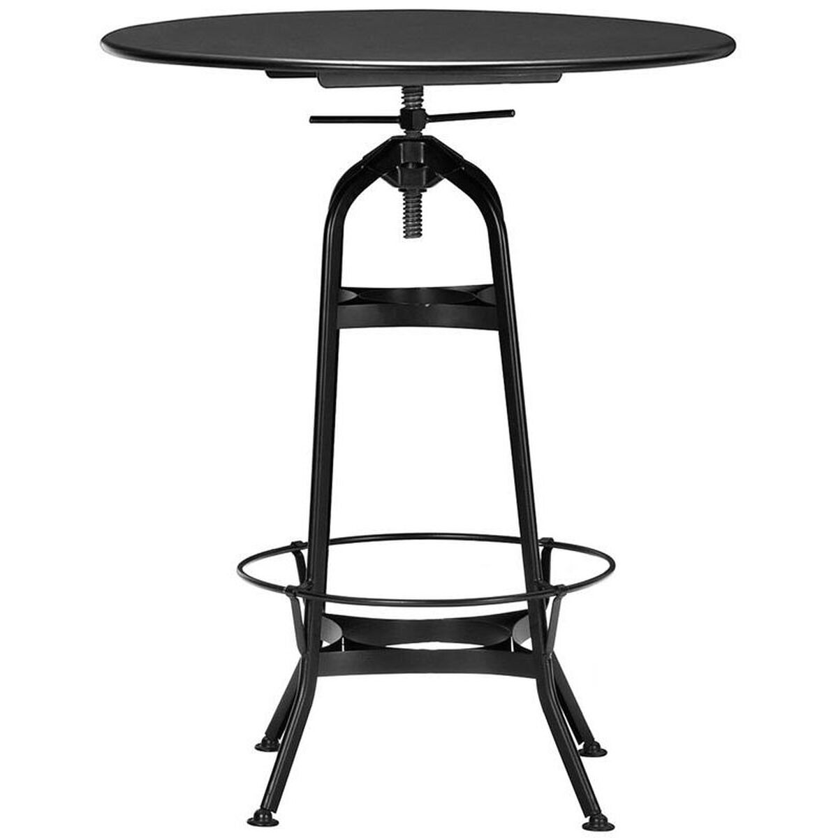 Toledo Industrial Black Adjustable Bar Table With Round