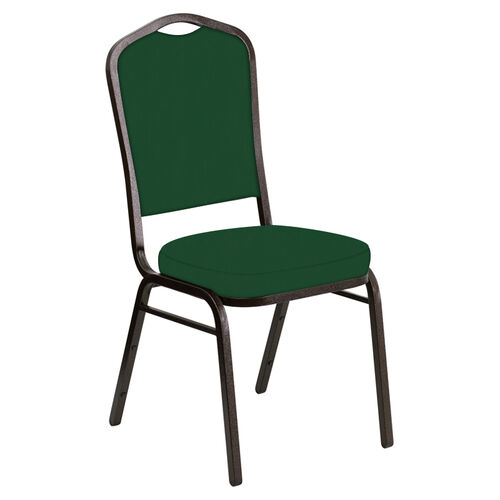 Our Embroidered Crown Back Banquet Chair in E-Z Wallaby Forest Vinyl - Gold Vein Frame is on sale now.