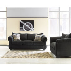 Signature Design by Ashley Darcy Living Room Set in Black Microfiber
