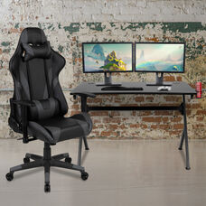 BlackArc Black Gaming Desk and Gray/Black Reclining Gaming Chair Set with Cup Holder, Headphone Hook & 2 Wire Management Holes