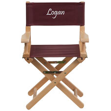 Embroidered Kid Size Directors Chair in Brown
