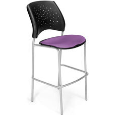 Stars Cafe Height Chair with Fabric Seat and Silver Frame - Plum
