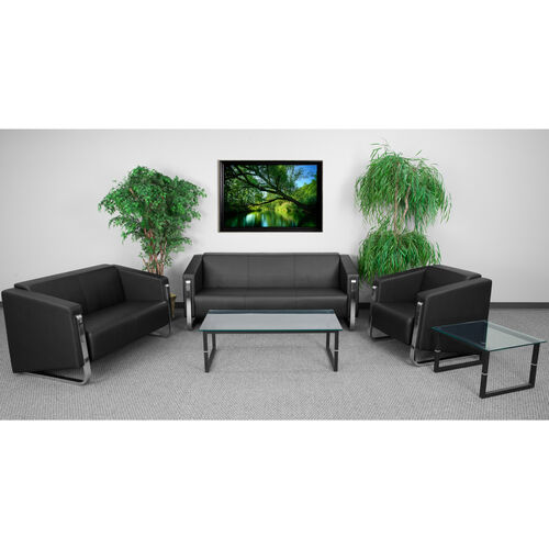 "Our HERCULES Gallant Series Living Room Set in Black LeatherSoft with <span style=""color:#0000CD;"">Free </span> Glass Coffee and End Table is on sale now."