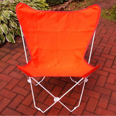 Folding Butterfly Chair with White Steel Frame and Cotton Cover - Orange