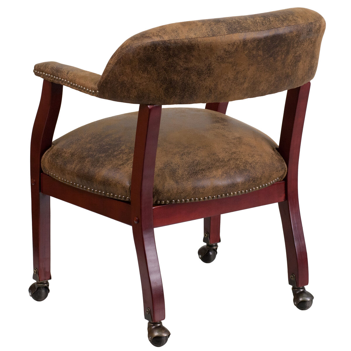 Our bomber jacket brown luxurious conference chair with accent nail trim and casters is on sale