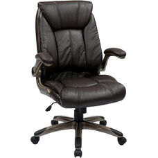 Work Smart Faux Leather Mid Back Managers Chair with Padded Flip Arms - Espresso