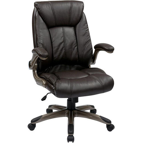 Our Work Smart Faux Leather Mid Back Managers Chair with Padded Flip Arms - Espresso is on sale now.