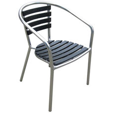 Pinzon Outdoor Tiki Series Stackable Aluminum Arm Chair - Black