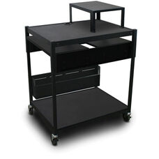 Spartan Series Adjustable Cart with Two Pull-Out Side-Shelves and Expansion Shelf - Black