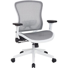 Space White Breathable Mesh Seat and Back Managers Chair with Adjustable Flip Arms