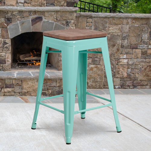 """Our 24"""" High Backless Mint Green Counter Height Stool with Square Wood Seat is on sale now."""