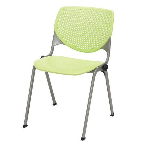 2300 KOOL Series Stacking Poly Armless Chair with Perforated Back and Silver Frame - Lime Green