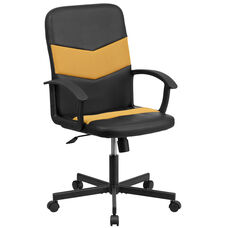 Mid-Back Black Vinyl and Orange Mesh Racing Executive Swivel Chair with Arms