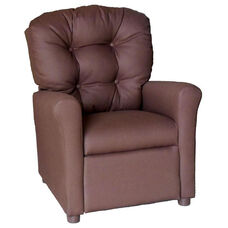 Kids Recliner with Button Tufted Back - Solid Brown Cotton