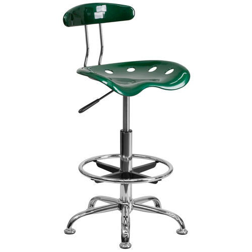 Our Vibrant Green and Chrome Drafting Stool with Tractor Seat is on sale now.