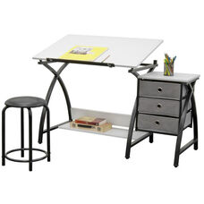 Comet Craft and Storage Center with Stool - Black and White