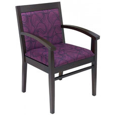 Tea Indoor Office Chair with Purple Pattern Fabric Seat and Back - Walnut Wood Finish