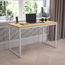 "Tiverton Industrial Modern Desk - Commercial Grade Office Computer Desk and Home Office Desk - 47"" Long (Maple/White)"