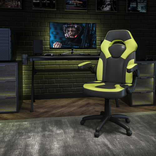 BlackArc X10 Gaming Chair Racing Office Ergonomic Computer PC Adjustable Swivel Chair with Flip-up Arms, Neon Green/Black LeatherSoft