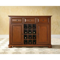 Buffet Server and Sideboard Cabinet with Wine Storage with Alexandria Style Feet - Classic Cherry Finish