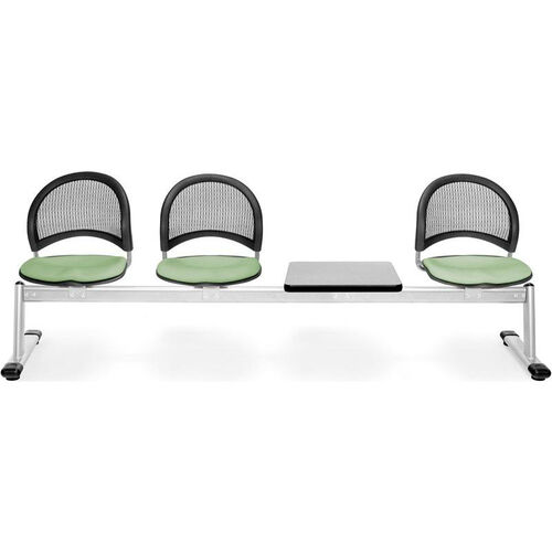 Our Moon 4-Beam Seating with 3 Sage Green Fabric Seats and 1 Table - Gray Nebula Finish is on sale now.