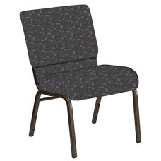 21''W Church Chair in Circuit Gray Fabric - Gold Vein Frame