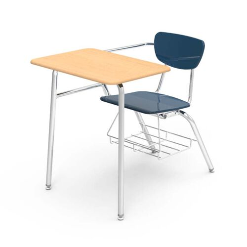 Our 3000 Series Combo Fusion Maple Hard Plastic Top Desk with Navy Plastic Seat and Chrome Frame - 24