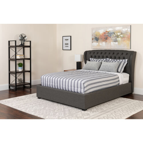 Our Barletta Tufted Upholstered Queen Size Platform Bed in Dark Gray Fabric with Memory Foam Mattress is on sale now.