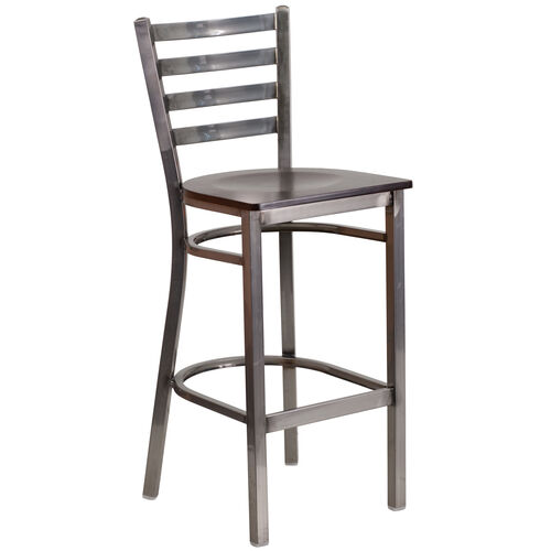 Our Clear Coated Ladder Back Metal Restaurant Barstool with Walnut Wood Seat is on sale now.