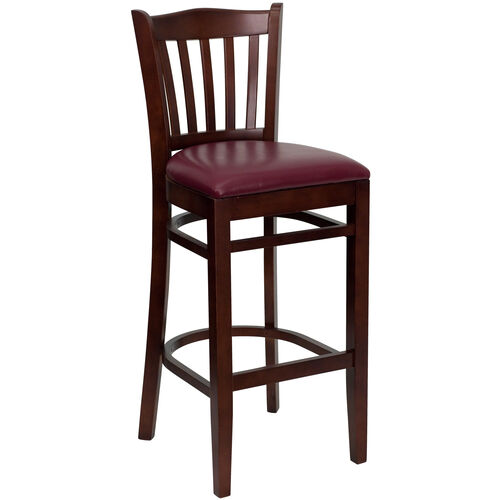 Our Mahogany Finished Vertical Slat Back Wooden Restaurant Barstool with Burgundy Vinyl Seat is on sale now.