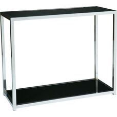 Ave Six Yield Tempered Glass Foyer Table with Chrome Finished Steel Base - Black