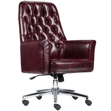 Mid-Back Traditional Tufted Burgundy Leather Executive Swivel Office Chair with Arms
