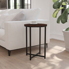 Hampstead Collection End Table - Modern Walnut Finish Accent Table with Crisscross Matte Black Frame