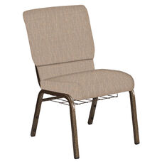 18.5''W Church Chair in Amaze Fossil Fabric with Book Rack - Gold Vein Frame